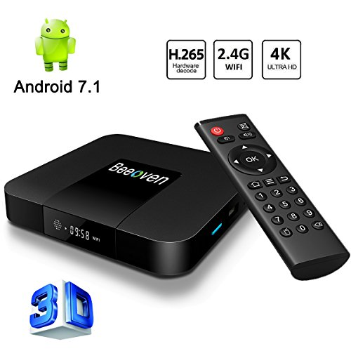 Beeoven Android TV Box 1GB RAM+8GB ROM Android 7.1 Nougat Quad-core ARM Cortex-A53 Smart TV Box/Wifi 2.4GHz/4K Full HD/H.265/LAN 100M