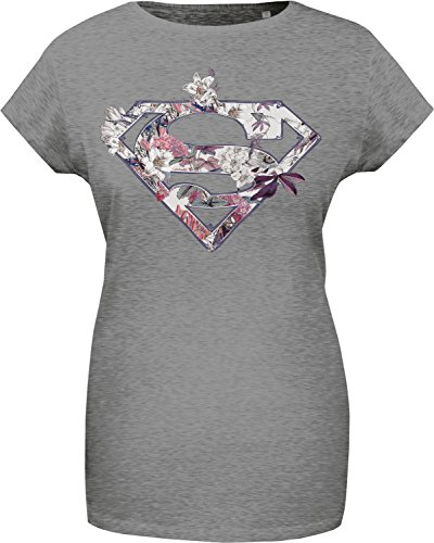 GOZOO Superman T-shirt Donna Supergirl Floral high quality print Grigio L