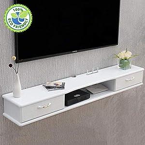 AGYE Wood Floating TV Stand Cabinet, TV Cabinet For Living Room,TV Unit Storage Console,TV Cabinet With Two Shelves,for Living Room,Bedroom,A-flip-doorDrawer-140cm   11