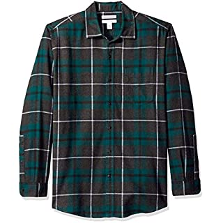 Amazon Essentials Men's Regular-Fit Long-Sleeve Plaid Flannel Shirt, Green/Charcoal Heather, Medium