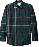 Amazon Essentials Camicia Regular in Flanella a Manica Lunga Uomo, Verde (Green/Charcoal Heather Plaid), XX-Large
