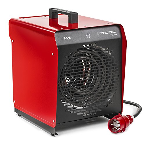 TROTEC TDS 50 E Elektroheizgebläse (max. 9 kW) Integriertes Thermostat 2 Heizstufen Kondensfreie Wärme Kein Sauerstoffverbrauch Elektroheizer Heizstrahler