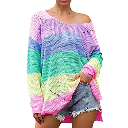 LoveLeiter Damen Sweatshirt Pullover Sweater Pulli Jumper Oberteil Langarmshirt Regenbogen Streifen V Ausschnitt Weg von der Schulter Oversize Hemd Bluse Lose irregulär Teilt Mode Sexy Tops