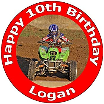 75 Inch Motocross Quad Bike ATV All Terrain Vehicle Birthday Cake Toppers Decorations Personalised On Edible