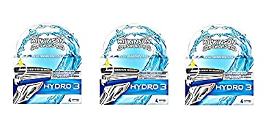 Wilkinson Sword Hydro 3 Razor Blades for Men 12 Blades - 3 Packs of 4 Blades
