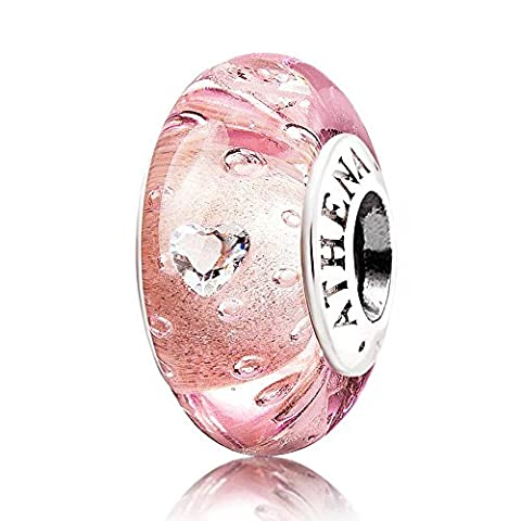 ATHENAIE Genuine Murano Glass 925 Silver Core Effervescence Clear Heart CZ Charms Bead Fit All European Bracelets Color Pink by ATHENAIE