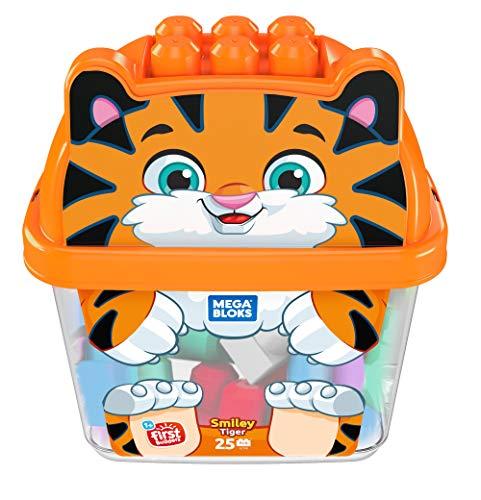 Mega Bloks First Builders boîte en forme de tigre, briques et jeu de construction, 25 pièces, jouet pour bébé et enfant de 1 à 5 ans, GCT48