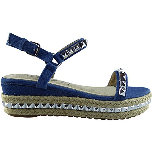 Da donna Le signore Cinturino alla caviglia Piattaforma Scarpe Cuneo sandali Dimensione 36-41 Denim