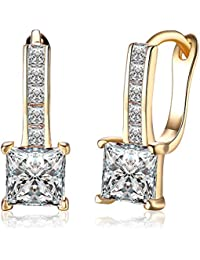 Yellow Chimes A5 Grade Crystal Champagne Gold Plated Clip On Earrings For Women & Girls