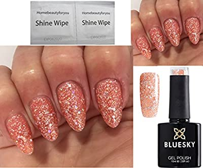 Bluesky BLZ43 Coral Explosion Diamon Peach Sparkle Glitter - Nail Gel Polish UV LED Soak Off Gel 10ml - PLUS 2 Homebeautyforyou Shine Wipes