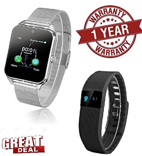 MacBerry Sony Xperia P Compatible Silver Z50 Bluetooth Smartwatch & Smart Bracelet  available at amazon for Rs.2849