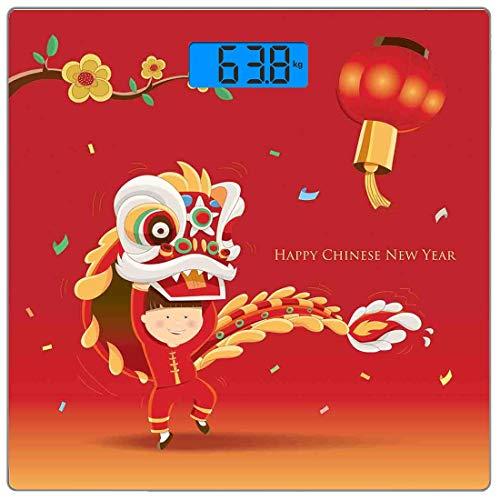 Precision Digital Körpergewicht Waage Chinese New Year Ultra Slim Gehärtetes Glas Personenwaage Genaue Gewichtsmessungen, Little Boy Lion Dance mit dem Kostüm Flowering Branch Laterne, Mu