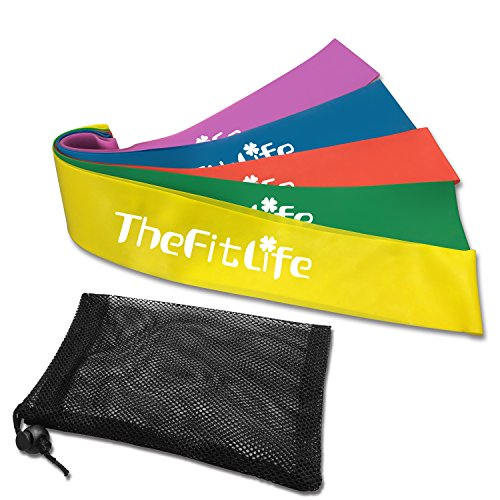 TheFitLife Exercise Resistance Loop Bands - Set of 5 Elastic Stretch Bands with Carrying Bag, Premium Natural Latex Fitness and Workout Bands for Home Training Pilates Yoga Rehab Physical Therapy
