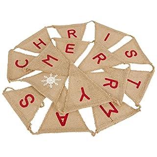 Allbusky Jute hessischen Burlap Bunting Fahnen-Flagge für Weihnachten Xmas Party Trauung Dekoration Weinlese (Triangle Xmas)