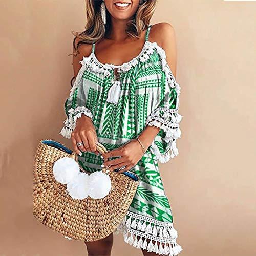 Elegante Kleider Damen Kleid Cocktailkleider Ronamick Frauen ab Schulter Kleid Tassel Short Cocktail Party Strand Kleider Sommerkleid(M, Grün) - Grüne Cocktail Für Frauen Kleider