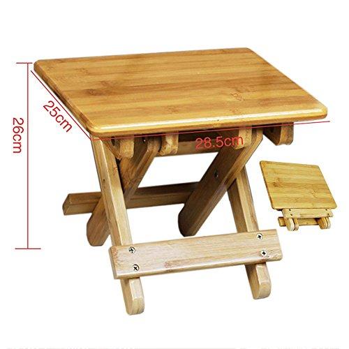 Bases de portátiles ZHANGRONG- Taburete Plegable Bamboo Bench para Niños Portable Outdoor Mazar Fishing Taburete Square Taburete para Adultos (Tamaño : 28.5 * 25 * 26cm)
