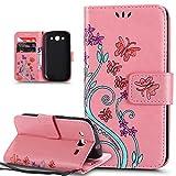 Coque Galaxy S3,Coque Galaxy S3 Neo,Peint coloré Embosser Papillon fleur Housse Cuir...