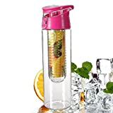 Voberry 800 Milliliter Pink Fruit Infusing Water Bottle with Fruit Infuser and Flip Lid Lemon Juice Make Bottle Bild