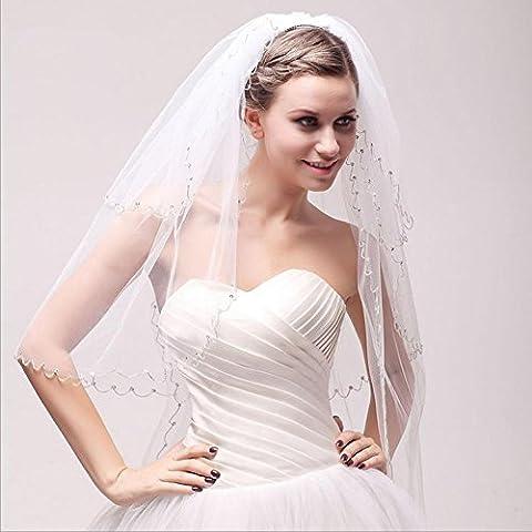 Wedding Essential mano bordo tempestato di diamanti a tre strati Pearl filato della rete del velo da sposa