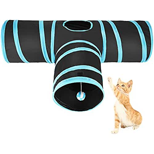 regalos kawaii gato ASIV Túnel Gato PET Plegable Divertido Juego Juguete Tubo de 3 Vías para Conejos Gatitos Perros