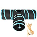 Asiv Collapsible 3 Way Cat Tunnel, 3 Way Tube Fun Play Toy for Rabbits, Kittens, Puppy - Blue & Black