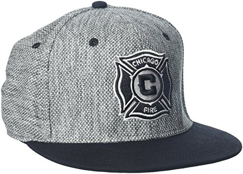 adidas MLS Chicago Fire Herren Heathered Gray Stoff flach Visier Flex Hat, Large/X-Large, Gray -
