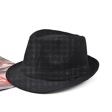 Pinzhi Unisex Fedora Trilby Gangster Mütze Sommer Strand Sonne Panama Frauen Männer Hut (Männer Frauen Fedora)