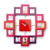 Vevendo Design Bilderrahmenuhr mit 12 Rahmen für Erinnerung, moderne Foto-Wanduhr, Kombination aus Uhr und Bilderrahmen, Farbe rot/orange/pink