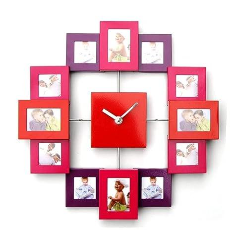 Design Bilderrahmenuhr mit 12 Rahmen für Erinnerung, moderne Foto-Wanduhr, Kombination aus Uhr und Bilderrahmen, Farbe rot/orange/pink