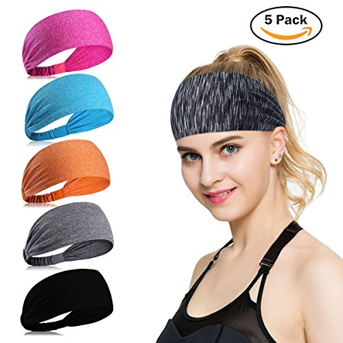 Sport Stirnband für Frauen Lady - Headband Schweißband für Yoga, Radfahren, Laufen, Fitness, Fahrrad Volleyball Running Rennen Fußball Anti- Rutsch Haarband Headbands für Herren und Damen (Mehrfarbig-5Stück-B) (Spandex-rennen)