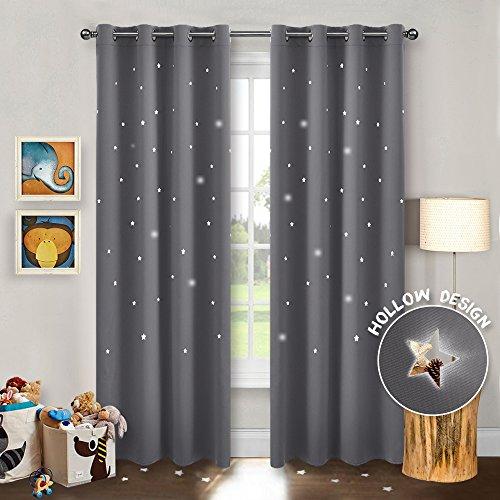 Pony dance tende da sole moderni grigio per finestre camera bambini con occhielli/tessuti stelle vuote termiche antimosche, 132 x 240 cm (l x a), 2 panelli