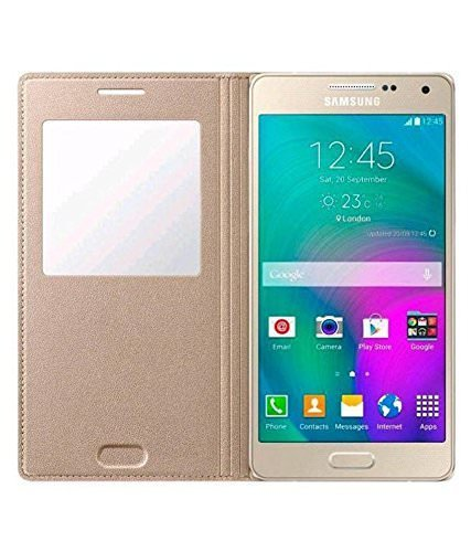 Window Flip Case Cover For Samsung Galaxy On7 Pro - Golden