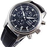 kimuk negro Dial plata carcasa de hombre mujer puerto reloj cronógrafo cronómetro negro cinturón de piel
