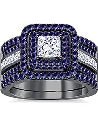 Silvernshine Enhancer Ring Guard & Engagement Ring Set Black Gold Plated Blue SapphireSim Diamond