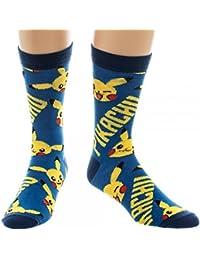Oficial Pokemon Pikachu azul y amarillo todo impresión tripulación calcetines - única…