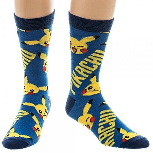 Ufficiale Pokemon Pikachu blu e giallo tutto stampa Crew Socks - unica taglia