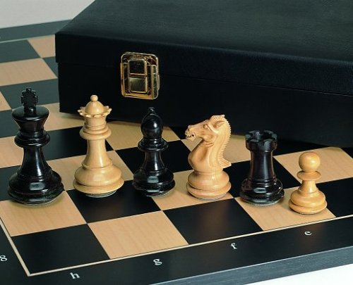 Weible 01566 - Schachfiguren Grandmaster, Ebenholz und Buchsbaum, 89mm - Sockel Schach