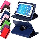 Universal Rotation Tasche für Tablet Modelle in 7, 8 oder 10 Zoll Größe Case Schutz Hülle Cover (7 Zoll Blau)