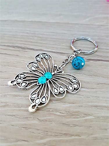 Silver Tone Butterfly with Turquoise Semi-Precious Gemstone Charm Keyring Keychain