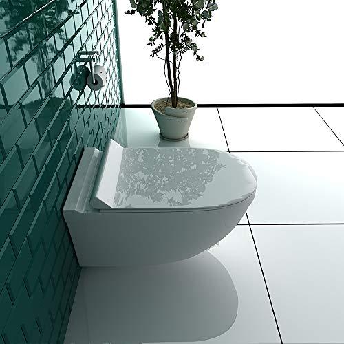 Wand-WC Spülrandlos Weiss Keramik Hänge Toilette inkl. Duroplast WC-Sitz mit Soft-Close Funktion passt zu GEBERIT - 2