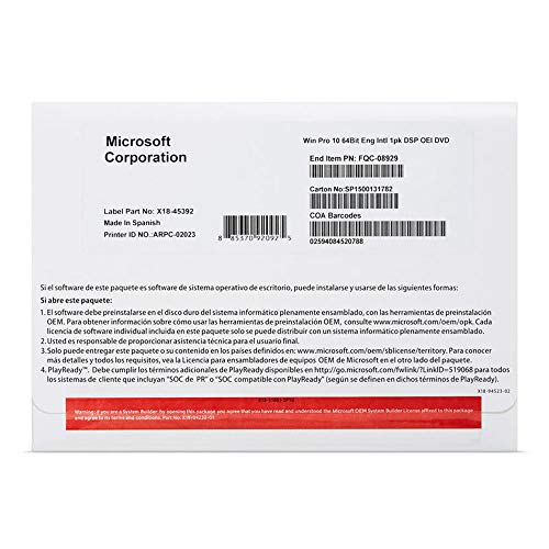 MS Windows 10 Pro 64bit DVD OEM (EN)