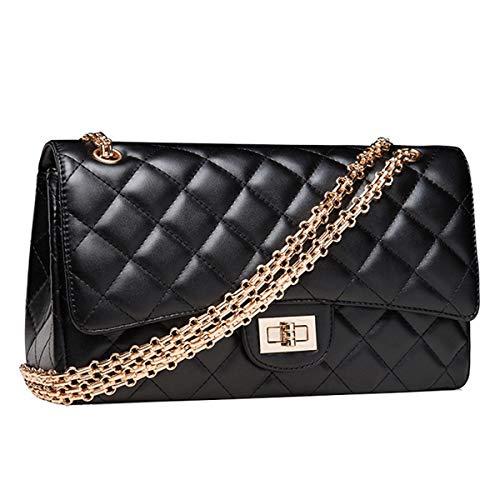 Lianaizog Damenhandtasche Damen Umhängetasche Leder Mode Luxus Taschen Hochwertige Kanal Casual Bag Schwarz Gold Kette 2