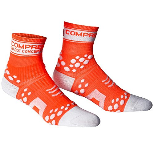 Compressport Run Fluo - Calcetines de running unisex, color naranja, talla 2