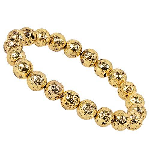 PowerBead Edelstein Perlen Armband 8,5-9mm Lava Gold für Damen und Herren