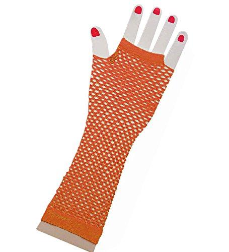 80er-Orange lange Fischnetz Handschuhe Erwachsene - Pop-Diva der 1980er Jahre lange Netz-Handschuhe in Sunny orange