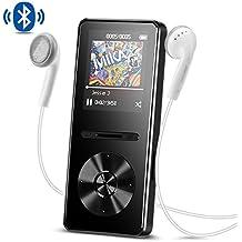 AGPTEK Reproductor Mp3 con Bluetooth 4.0, 8 GB Metal Reproductor de música de Hi-Fi Lossless sonido con Radio FM, Color Negro A29TB