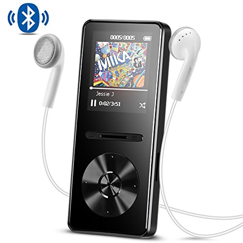 Lettore MP3 con Bluetooth 4,0, Metal 8 GB Musica Player Hi-Fi Lossless Sound con Radio FM, Colore Nero- AGPTEK A29TB
