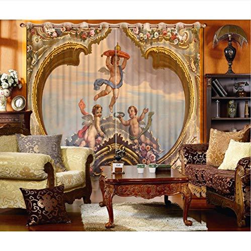 Wkjhdfgb tenda classica della pittura a olio per il salone 3d tenda della finestra di 3d tende della tenda 3d di alta qualità culla,215x200cm