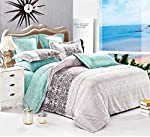 Duvet Cover Set Reservible With Fit Sheet-6 Pieces Set King Size-king Size