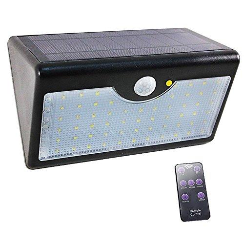 AOFENG Solarlampe 60 LED Garten PIR-Bewegungsmelder Wasserdicht Solar lampe Gartenlampe mit Fernbedienung (Schwarz, weißes Licht)